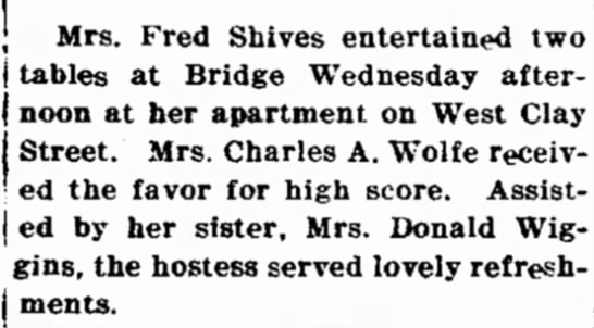 "Chillicothe Tribune Nov. 12, 1925 pg. 13 - Fred Slaves entertained two ,., "" "" "", tables..."