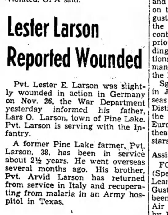 Lester wounded in war - and on August, the including installations,...