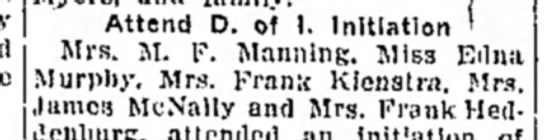 Mrs M F Manning - Attend D. oi I. Initiation ' Mrs. M. F....
