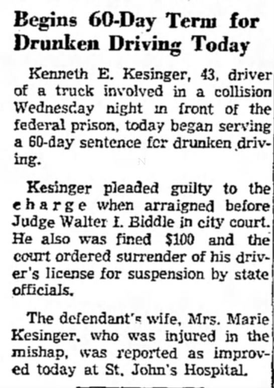 Kenneth Kesinger dui - Begins 60-Day Term for Drunken Driving Today...