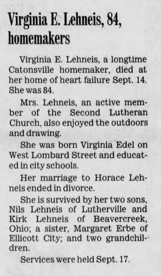 Virginia E. Lehneis obituary