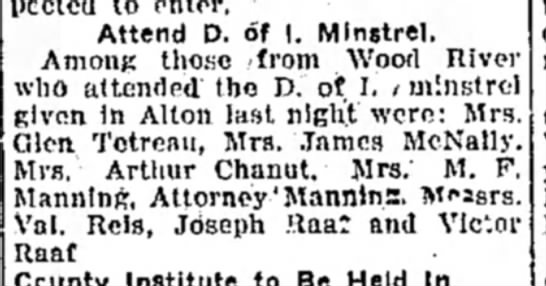 Mrs M F Manning - Attend D. of I. Minstrel. Among those (from...