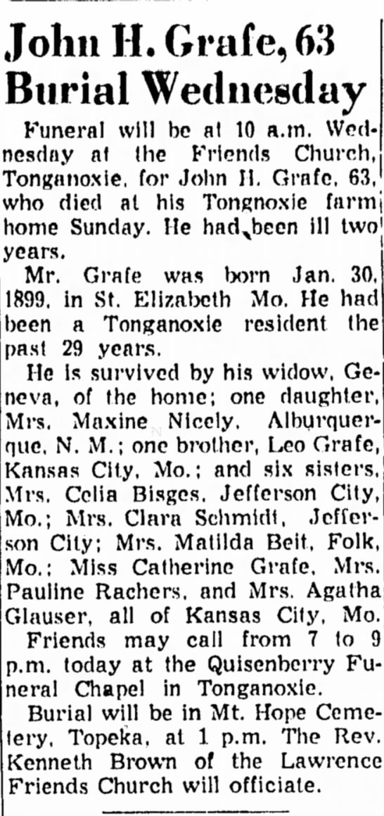 John H Grafe Obit. Leo's brother - Funeral will be al 10 a.m. Wed nesdny at the...