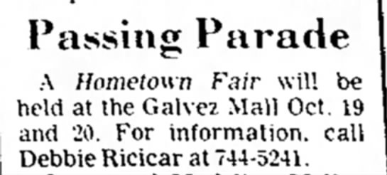 Passing Parade - Galvez Mall - Passing Parade ~ A Hometown fair will be held...