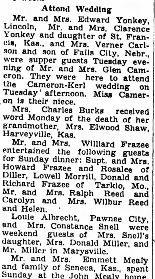 Kerl, Cameron Wedding Attendees 21 Mar 1949 Beatrice Daily Sun - Attend Wedding Mr. and Mrs. Edward Yonkey,...