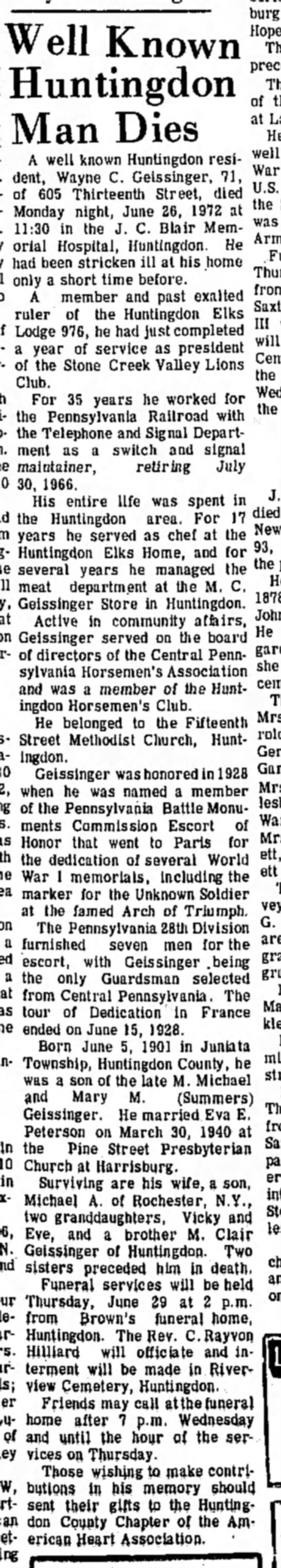 June 27, 1972; Daily News - Well Man Dies A well known Huntingdon resi- of...