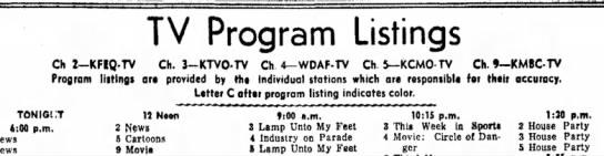 - TV Program Listings Ch I— KFIQrTV Ch, 3-KTVO-TV...