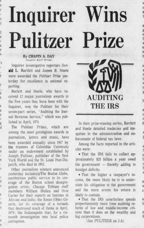 Inquirer wins its first Pulitzer Prize, 1975 - I To-byann a a it it nquirer Pulitzer By CHAPIN...