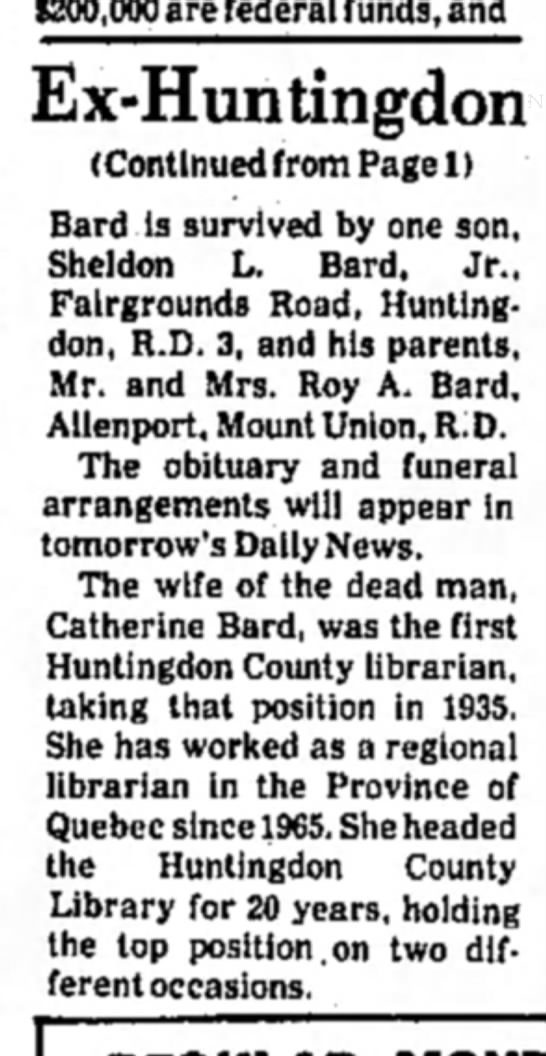Sheldon L. Bard-killed-TDN-p.13-20 Jan 1975 Part 2 - $200,000 are federal funds, and (Continued from...