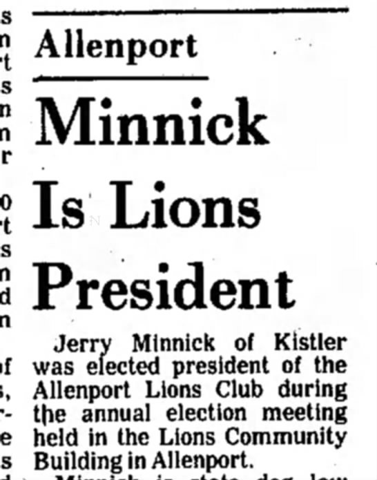 Social Announcement - Minnick Is Lions President Jerry Minnick of...