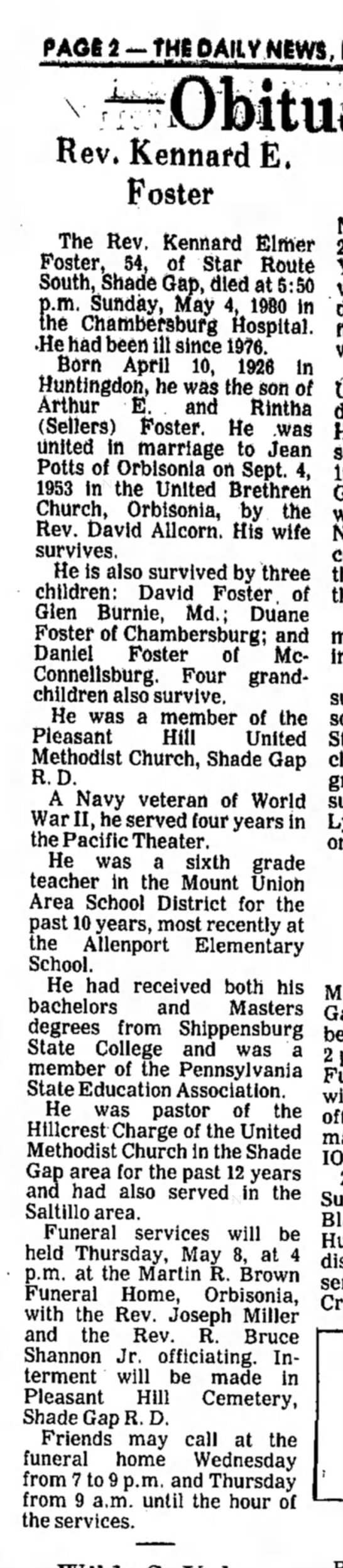 Kennard E. Foster-obit-TDN-p.2-6 May 1980 - THIOAJJ-V NEWS, Rev, KennafdE, Foster The Rev....