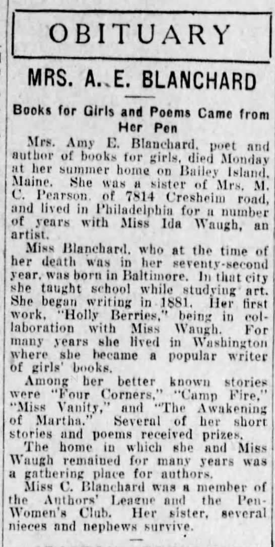 - OBITUARY MRS. A..E.BLANCHARD Books for Girls...