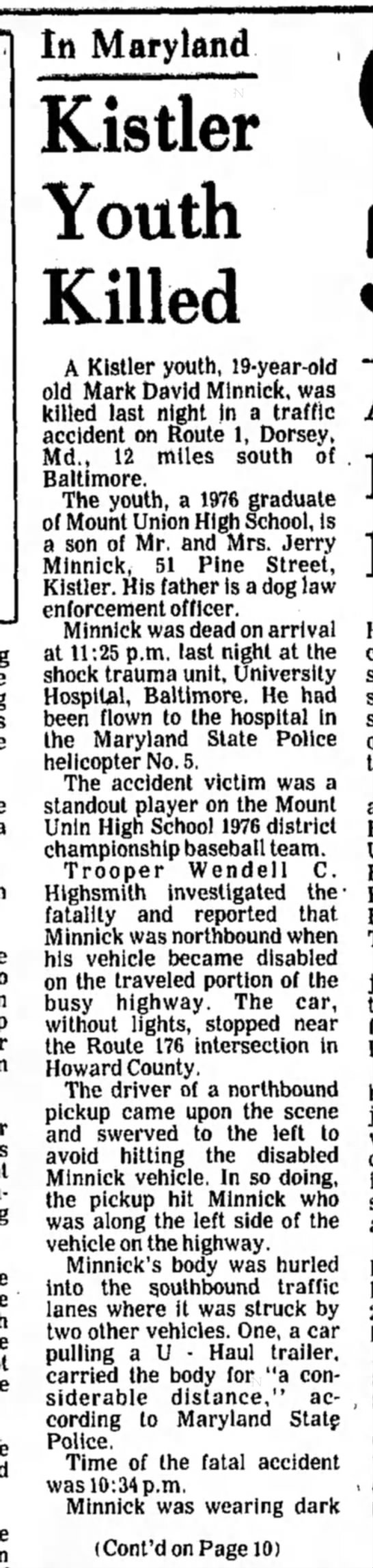 Mark David Minnick death-p.1-TDN-28 May 1977--part 1 - In Maryland Kistler Youth Killed A Kistler...