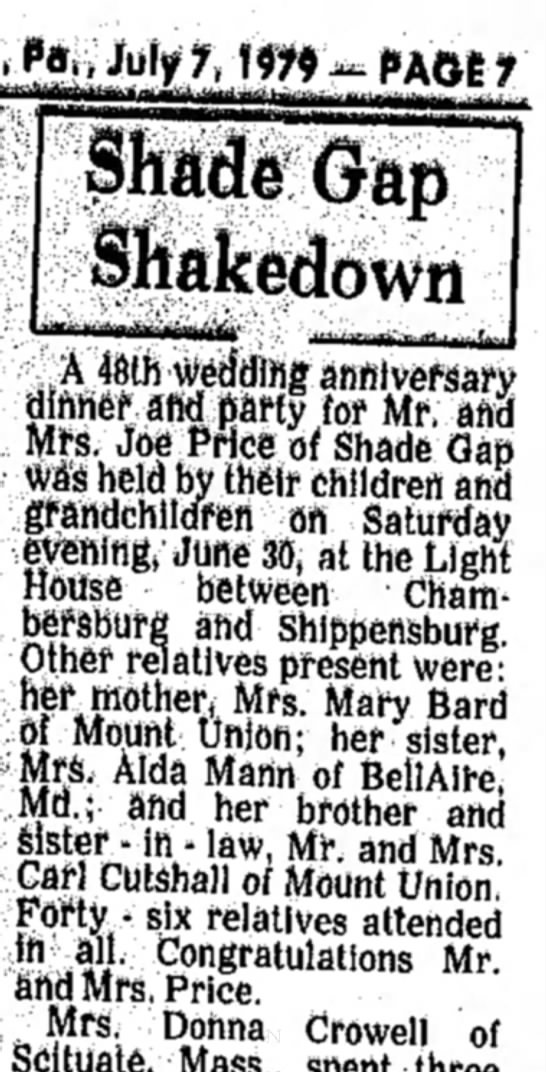 Ruth Bard Price-Anniversary-TDN, p.7, 7 July 1979 - Gap Shakedown A 46th w-eddlftg anniversary...