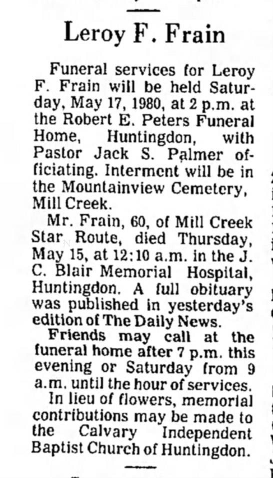 Leroy F. Frain obit-TDN-p. 2-16 May 1980 - Leroy F. Frain Funeral services for Leroy F....