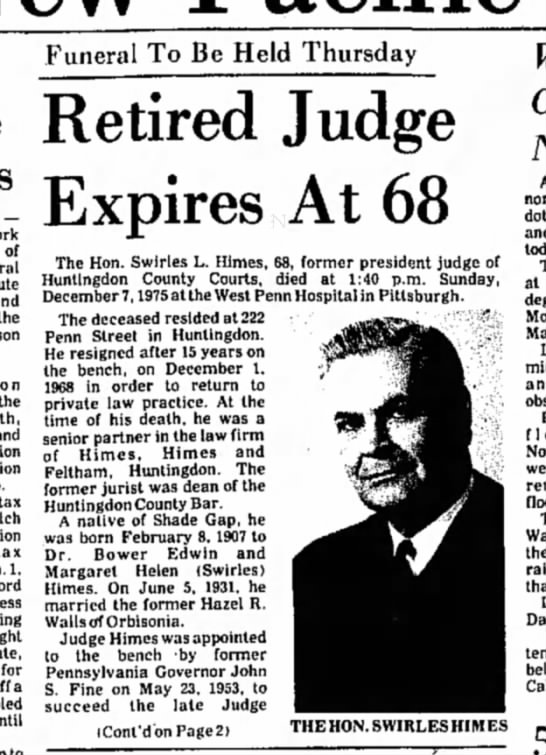 Swirles Himes death-TDN-p.1-8 Dec 1975 Part 1 - — of the the tax 1, for a until Funeral To Be...