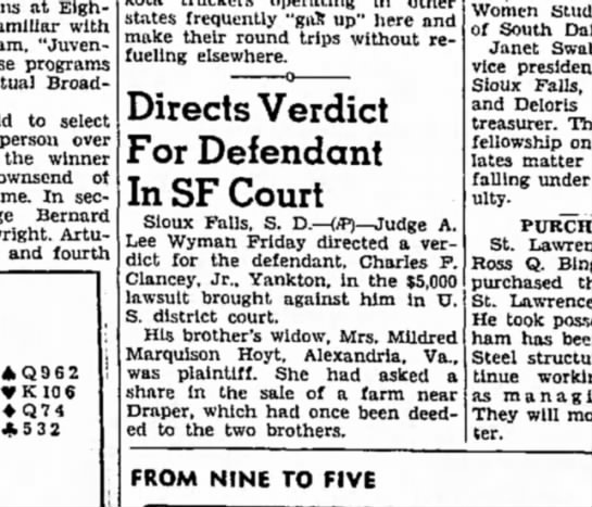 Directs Verdict For Defendant in SF Court