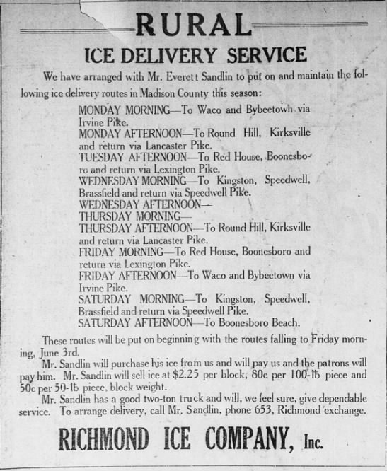 28 May 1921 Everett Sandlin - t URAL ICE DELIVERY SERVICE r We have arranged...