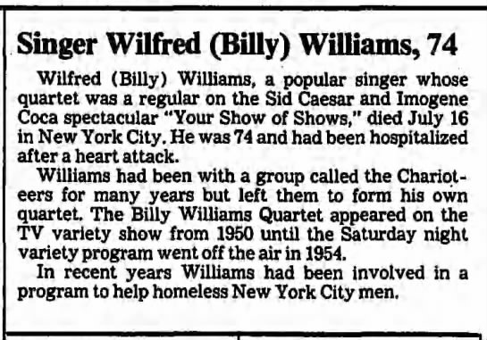 Billy Williams (singer) - Singer Wilfred (Billy) Williams, 74 Wilfred...