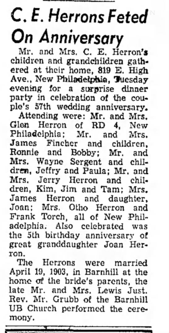 CE Herron 57th anniv Apr 1960 - C. £. Herrons Feted On Anniversary Mr. and Mrs....