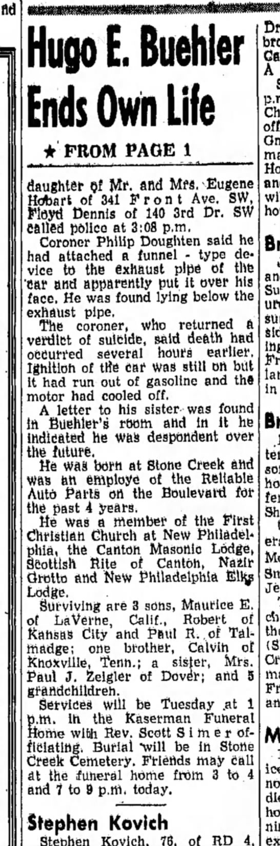 The  Daily Reporter (Dover, OH) April 25, 1960 - Hugo E, Buehler Ends Own Life * FROM PAGE 1...