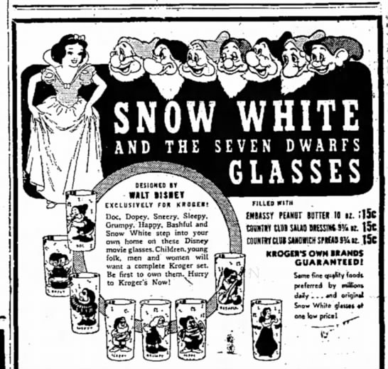 1938 The Chillicothe Constitution Tribune, Clillicothe, MO), 3 Feb 1938, Page 13 - SNOW WHITE AND THE SEVEN DWARFS ~ GLASSES...