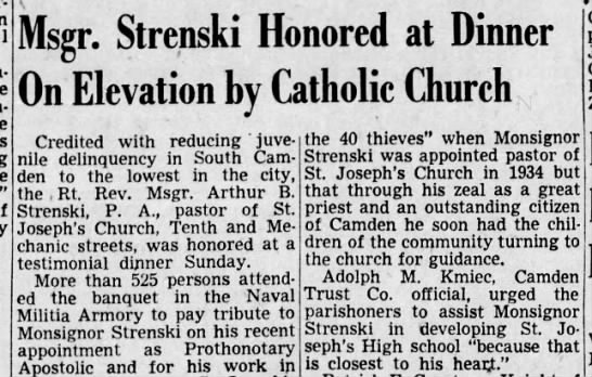 Adolph M Kmiec 3 Oct 1949 - Msgr. Strenski Honored at Dinner On Elevation...
