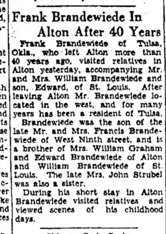 Frank Brandewiede visit to Alton July 21 1931 - Frank Brandcwiede In ; Alton After 40 Years...