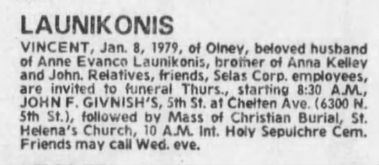 Vincent Launikonis Obituary 8 January 1979 - LAUNIKONIS VINCENT, Jaa 8, 1979, of Olney,...