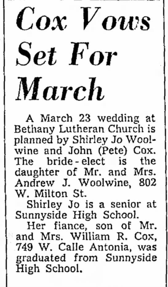 Shirley Jo WoolwineAndrew J Woolwine - h t a new Cox Vows Set For March A March 23...