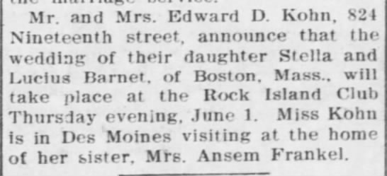 Barnet-Kohn Wedding - Mr. and Mrs. Edward D. Kohn, S2I Nineteenth...