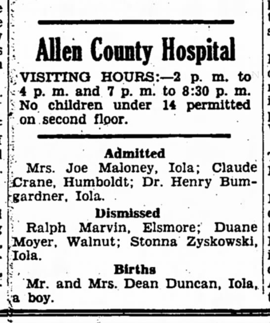 Dean Duncan - birth of son 1952 - i Alien Connty Hospital yVISITING HOURS:—2 p....