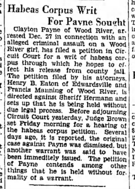 F Manning - Habeas Corpus Writ For Pavne Sought Clayton...