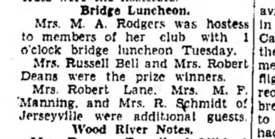 Mrs M F Manning - Bridge Luncheon, Mrs. M. A. Rodgers was hostes...
