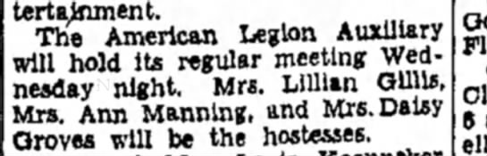 Mrs M F Manning - entertainment. The American Legion Auxiliary...