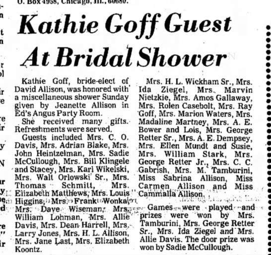 David Allison bridal shower - O. Box4958, Chicago, 111., 60680. Kathie Goff...