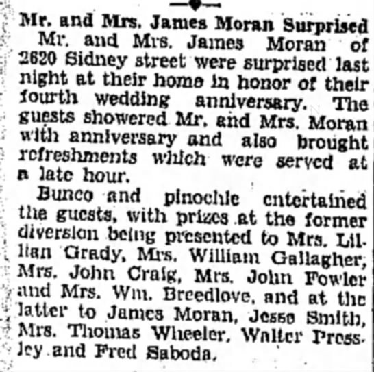 Moran_Blanche_Anniversary_Party_1929 - ( Mr. and Mrs. James Moran Surprised Mr. and...