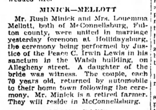 Rush Minick weds 2nd wife, March 1930-Altoona Mirror-p.20 - MINICK—MKLT.OTT Mr. Rush Mlnlrk and Mrs....