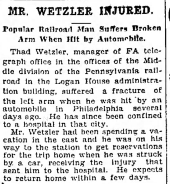 ThadWetzler10/16/29 - MR. WETZLER INJURED. Topnlar Railroad Man...