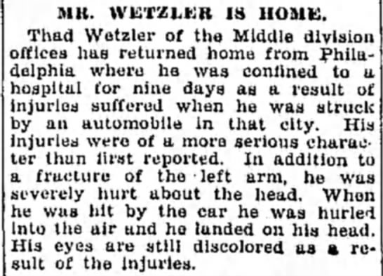 ThadWetzler10/29/29 - Mlt. WETZLER IS HOME. Thad Wetzler of the...