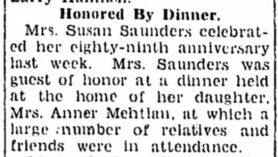 S Saunder's 89th 1946p - Honored By Dinner. Mrs. Susan Saunders...