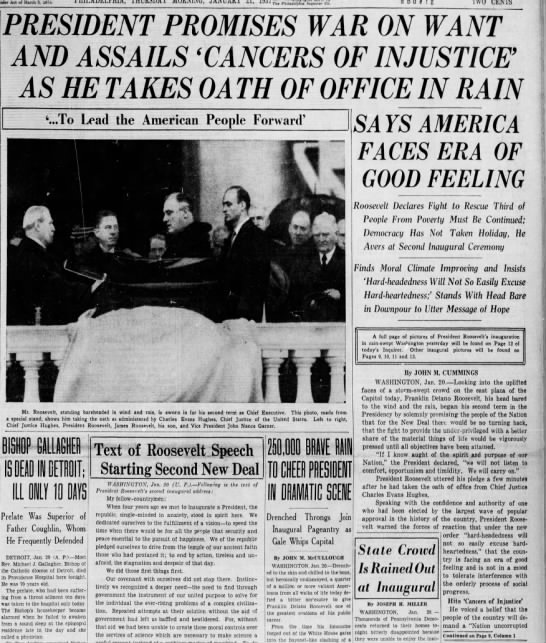 FDR's second inauguration, 1937 - Act of, March 3. miJ. TH Pailadefpaia tnquxrtr...