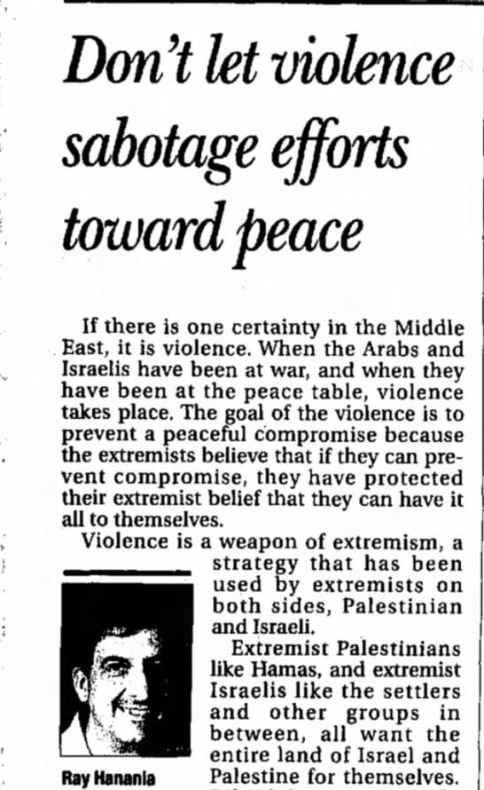 arab - Ray Hananla Don't let violence sabotage efforts...