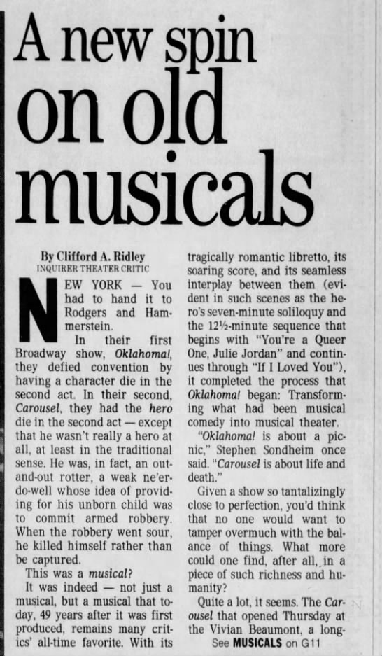Carousel Inquirer Review Pt.1 (3-27-94) - A new spin on old musicals By Clifford A....