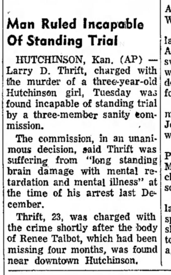July 3, 1968: Renee Talbot, missing 4 months, found near downtown Hutchinson...