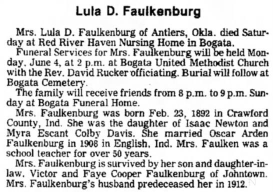 The Paris News (Paris, TX) - June 3, 1984, Pg 4 - Lula Davis Faulkenburg, PHS Teacher - Lula D. Faulkenburg Mrs. Lula D. Faulkenburg of...