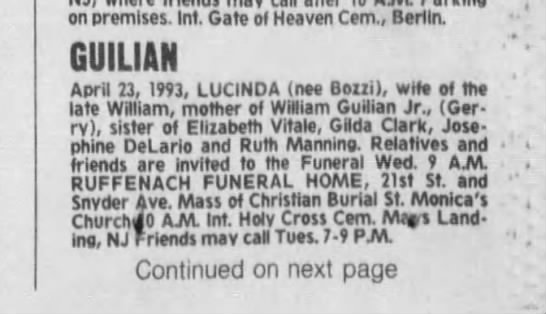 Lucinda Guilian Death Notice - on premises. Int. Gate of Heaven Cem., Berlin....