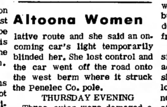 Spoolstra, Bonnie 19721118; Tyrone Daily Herald, Tyrone, PA., Saturday, Page 2 - latlve route and she said an on. coming car's...