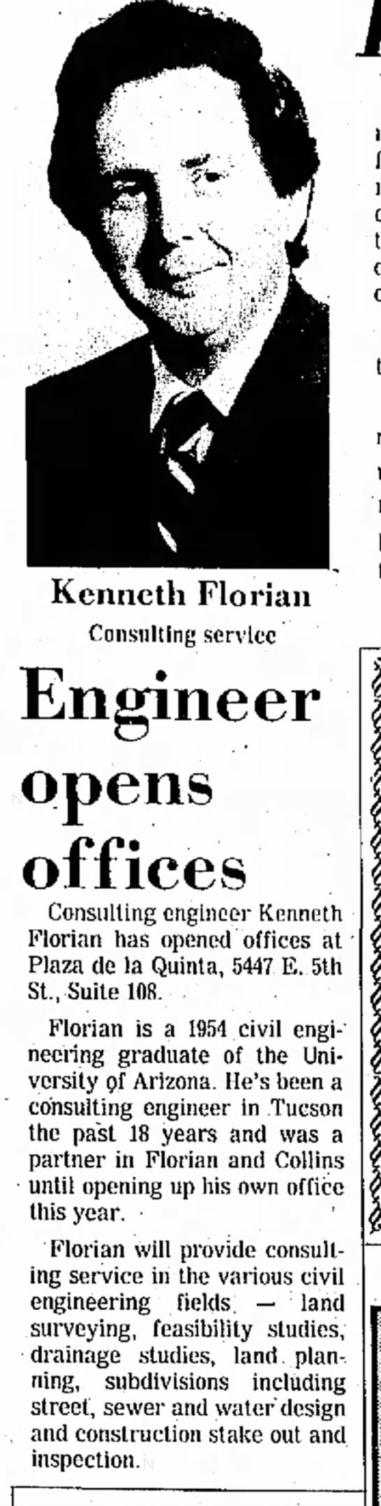 Engineer Opens Office = Tucson Daily Citizen Feb 5, 1974 - 1973 1969 up 35 profitable of a of Kenneth...