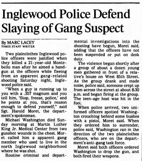 Michael (Murder Rock) Washington - Inglewood Police Defend Slaying of Gang Suspect...